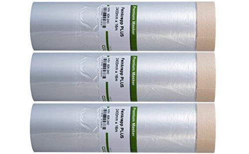 3 x Colorus Malerkrepp Masker Tape PLUS  Abdeckfolie mit Klebeband 240 cm x 16 m   Malerband mit Malerfolie   Klebebandfolie für Innen   Abdeckfolie mit Klebestreifen   UV-beständig 7 Tage