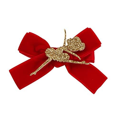 Changskj Pinzas Pelo Korea Design Glitter Ballet Dacing Girl Velvet Bowknot Horquilla para Accesorios para El Cabello Pink Plata Moda Lindas Timbre (Color : Red 1 pcs)