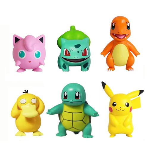 Set of 6 pcs Pikachu Collection Doll Set Action Figures Pikachu Anime Party Favor Supplies Cake Toppers, 1.97 inches