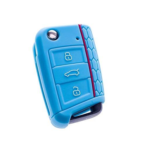 UIEMMY Funda de Silicona para Llave de Coche, Carcasa Fob para Volkswagen VW Golf 7 mk7 Skoda Octavia A7 para Seat Leon Ibiza 3 Estilo de Coche, Azul Claro
