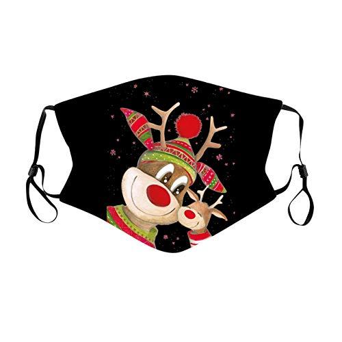 Blingko Mundschutz Weihnachten Schwarz Schneemann Santa Druck Lustige Motive Mund und Nasenschutz Stoff Waschbar Wiederverwendbar Atmungsaktive Staubdichte Bandana Halstuch (stück, ZR)