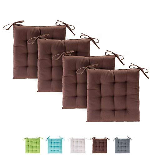etérea Basic Sitzkissen, Stuhlkissen mit Bändern - für Innen- und Außenbereich geeignet, Sitzpolster Auflage für Haus und Garten - 4er Set - 40x40 cm, Braun