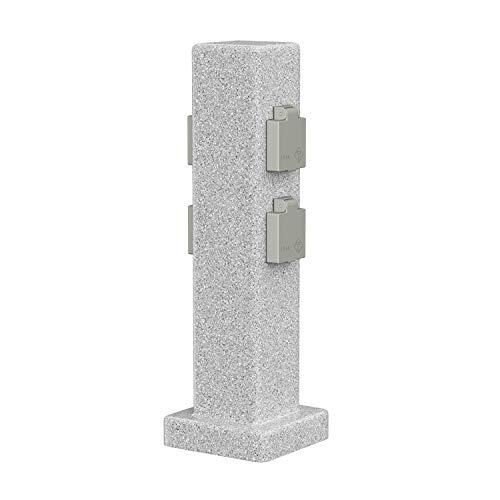 ledscom.de Garten-Steckdosen-Säule Stein-Optik POCK für außen, 4-Fach, Kunstharz, eckig, 39,5cm