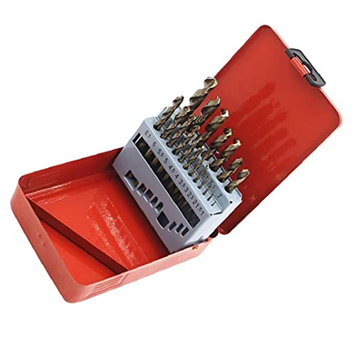 Twist Drill Bits,M35 High-speed Steel Step Drill Bits Fast Drill Bit with Metal Case Durable Hardware Accessories for Home or Industry 19PCS