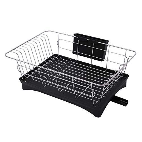 Teeyyui Escurreplatos de acero inoxidable 304 de una sola capa, para utensilios de cocina, cuenco, organizador de utensilios de cocina, color negro