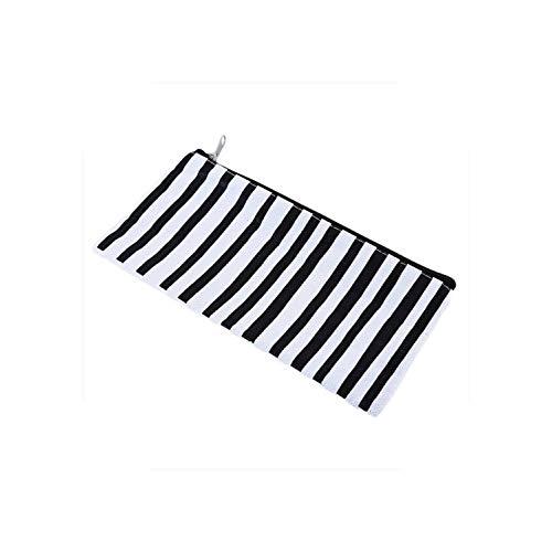 ZWWZ Kosmetik-Beutel-Geldbeutel einfache Art-Streifen-Leinwand-Speicher-Beutel Kosmetiktasche Schwarz Weiß Büro Aufbewahrung Bedarf Pen Taschen-3- HAIKE (Color : 2, Size : Size)