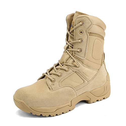 NORTIV 8 Men's Military Tactical Work Boots Side Zip Hiking Motorcycle Combat Bootie Sand Size 10.5 M US Response
