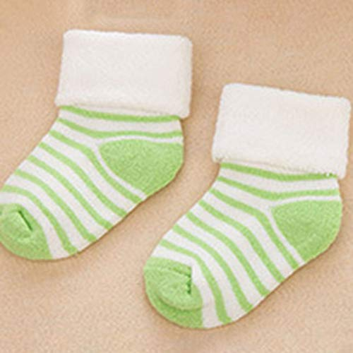 S Grün scherzt Socken Gestreifte Socken Antirutsch Non Skid Besatzung Kleid Socken mit Grips Für Baby-Kleinkind-Kind-kleine Mädchen