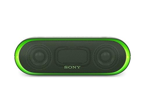 Sony SRS-XB20 Tragbarer, kabelloser Lautsprecher (farbige Lichtleiste, Extra Bass, Bluetooth, NFC, wasserabweisend, bis zu 12 Stunden Akkulaufzeit, Wireless Party Chain) Grün