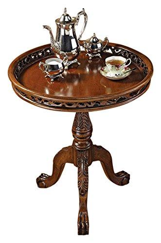 Design Toscano Table de Thé en Forme Fond de Tarte, Bouleau, Cerise, 59,5 x 59,5 x 68,5 cm