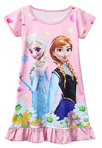 AOVCLKID Little Girls Princess Pajamas Toddler Nightgown Dress (Pink,100/2-3T)
