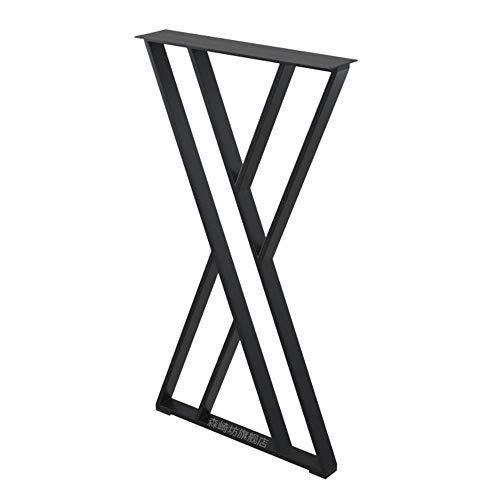 JqwerP Patas de Mesa X-Frame Patas de Muebles Industrial DIY Pies de Mesa de Comedor Pies de Soporte de Tubo de Acero Negro Juego de 1
