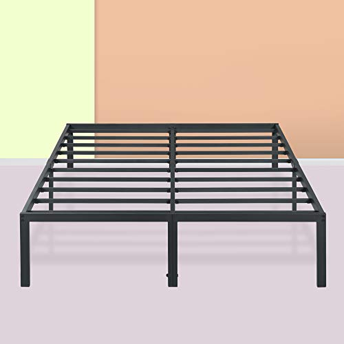 PrimaSleep Platform Bed Frame 18 Inch Ultimate Strength High Profile Heavy Duty Steel Slat/Anti-Slip/Extra Support/Easy Assembly/Mattress Foundation/Noise Free/No Box Spring Needed, King, Black