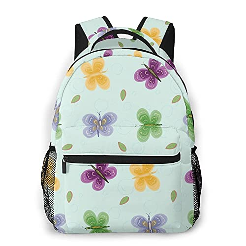 QQIAEJIA Mochila Butterflies And Leaves Backpack Girls Boy laptop bag Travel hiking Shoulder Backpack Lightweight Book bag Outdoor Kid Adult School Backpacks camping daypack Halloween Decor