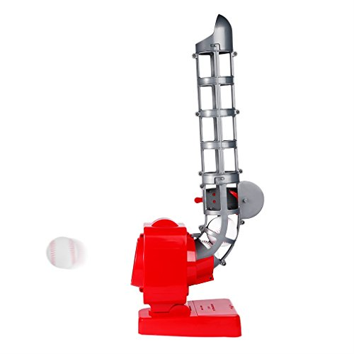 OUTAD Baseball Pitching Machine, Baseball Trainer for Kids, Teens, and Adults (Red, with 3 Ball)