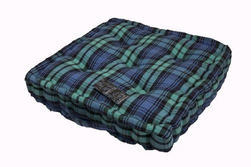 Homescapes Coussin de Chaise à Motif Tartan Couleur Vert Bleu et Noir Fait en 100% Coton 40x40 cm pour Chaise de Salon et Chaise de Jardin