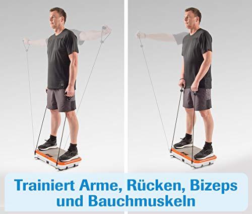 MediaShop VibroShaper – Fitness Vibrationsplatte unterstützt bei Muskelaufbau und Fettverbrennung – Vibrationstrainer für alle Muskelgruppen – inklusive Fitnessbänder – orange - 8