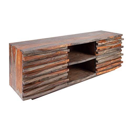 Invicta Interior Massives TV-Lowboard Relief 150cm Smoke Finish Sheesham Holz mit aufwändiger Front TV-Board Fernsehschrank