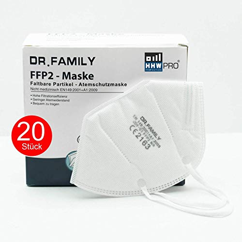 HHW Pro FFP2 Maske DEKRA geprüft Atemschutzmaske EU CE Zertifiziert CE2163 EN 149:2001 01:2009 Einzel Verpackt 20 Stück - 2