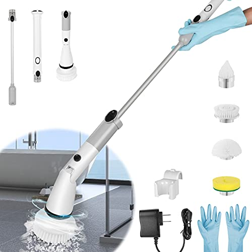Shower Scrubber for Cleaning, Electric Spin Scrubber Cordless Shower Cleaning Brush,360 Power Rotation, 4 Replaceable Brush Heads, Cleaning Brush with 1 Extension Arm and Gloves,for Tile,Floor,bathtub
