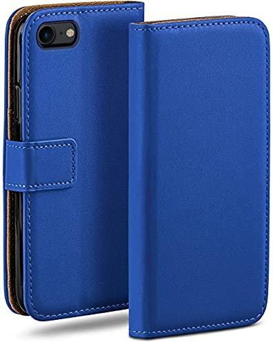 moex Klapphülle kompatibel mit iPhone 7 / iPhone 8 Hülle klappbar, Handyhülle mit Kartenfach, 360 Grad Flip Hülle, Vegan Leder Handytasche, Blau