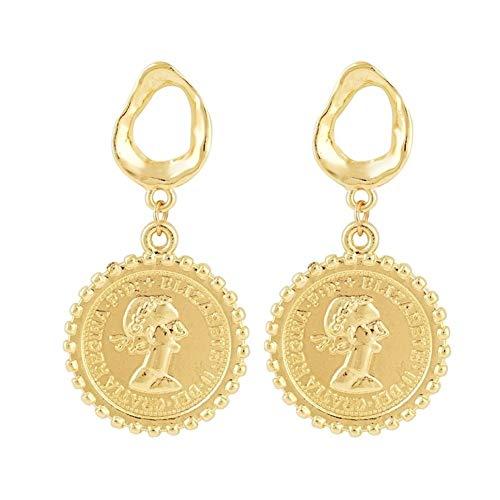 NOLOGO übertriebene Retro Ohrringe Legierung Gold Barock Perlenkopf Porträt Münze Ohrringe Party Jewelr (Color : Hole Gold Coin)