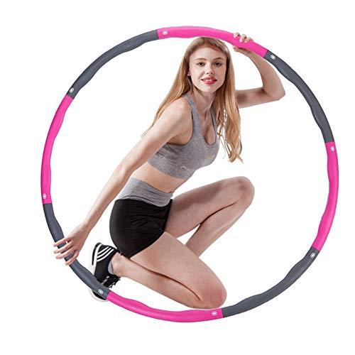 LadayPoa Hula Hoop Reifen,Fitness Gewichtsreduktion Abnehmbare&einstellbare Größe Massageknopf Hula Hoop,Von Erwachsenen Und Kindern Verwendet Werden,hergeben Mini Bandmaß(Rosa Grau)