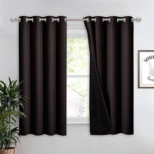 Nicetown - Cortina completa 100% opaca, aislante térmico y eficiencia energética para ventana con forro negro, cortina corta que reduce el ruido para habitación de los niños (marrón, 132 cm de ancho por 160 cm de largo, 1 panel)