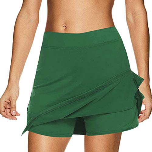 Riou Rock Damen mit Hose Sommer Kurz Active Athletic Skort Leichter Tennisrock mit Innenhose Hosenrock für Damen Sportrock (S, Grün)