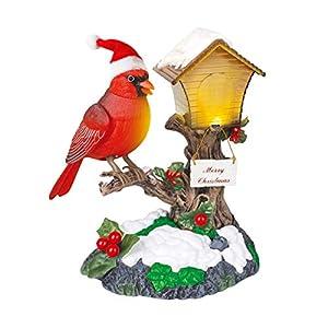 FYHappy Feliz Navidad Cantando Aves Decoraciones Juguetes para Niños Envejecimiento Padres Sonido Activado con Navidad Música Hogar Oficina Adornos de Escritorio, Cardenal
