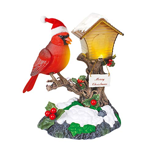 FYHappy Merry Christmas Singing Bird Decorations Toys for Kids Aging Parents Sound Activated with Christmas Music Home Office Desktop Ornaments, Cardinal