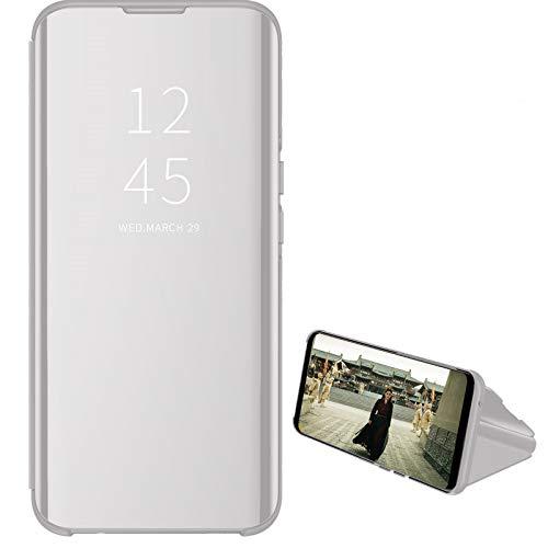 Custodia® Spiegelüberzug Clear View Standfunktion Flip Hülle für Oppo A9(2020) (Silber)