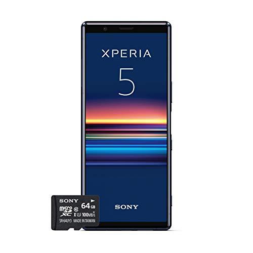 """Sony Xperia 5 Bundle, 6.1"""" FHD+ HDR OLED 21:9 Display, 6GB RAM, 128GB Speicher, Blau + gratis 64 GB Speicherkarte [Exklusiv bei Amazon DE]"""