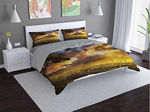 Toopeek Tree hotel bed linen Dreamy-Landscape-at-Sunset polyester - soft and breathable (King)