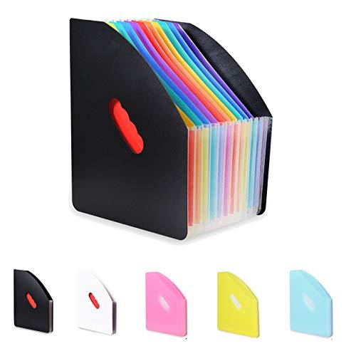 Marte Vanci - Organizador de documentos para escritorio, diseño de acordeón (tamaño A4, archivador de documentos), color Arco iris - negro