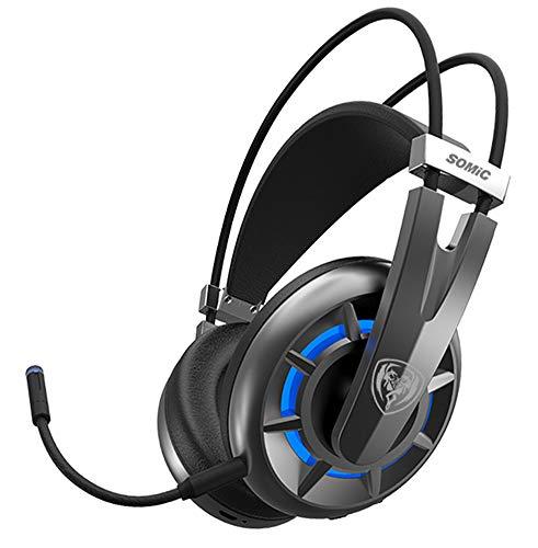 LAOSHIPAI Casque d'écoute 2.4G HD Headset avec Microphone Casque de Jeu sans Fil 7.1 Casque de Canal virtuel-Black