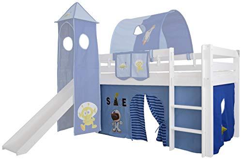 Mobi Furniture 3tlg Vorhang Set Höhle Weltraum Space f. Hochbett Spielbett Vorhänge Kinderbett