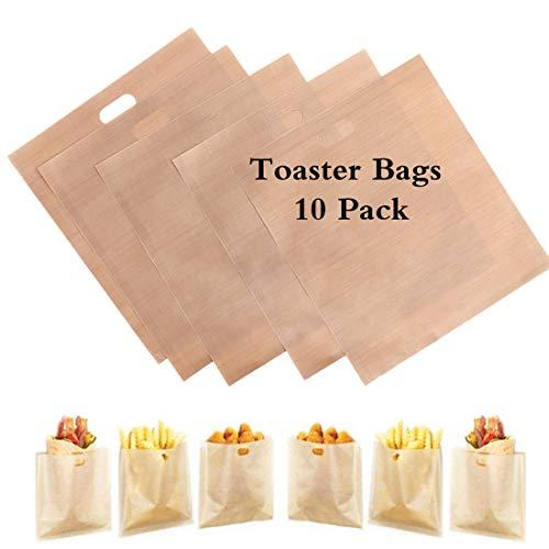 10 paquetes de bolsas de pan tostado para reutilizar, ideal para sándwiches de queso a la parrilla - 100% BPA sin gluten - Bolsas de tostadas de teflón premium certificadas por la FDA y LFGB