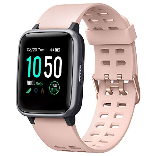 YAMAY Smart Watch for Android and iOS Phone IP68 Waterproof, Fitness Tracker Watch with Heart Rate Monitor Step Sleep Tracker, Smartwatch Compatible with iPhone Samsung, Watch for Men Women (Pink)