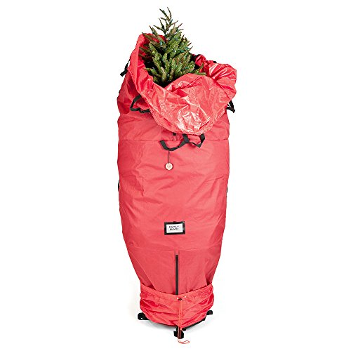 [Red Upright Tree Storage Bag] - 9 Foot Christmas Tree Storage Bag   Store Your Artificial Trees up to 9 Feet Tall - Keep Your Fake Tree Assembled   Hides Under Tree Skirt When Your Tree Is in Use