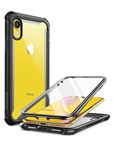 i-Blason Ares Case for iPhone XR 2018, Full-Body Rugged Clear Bumper Case with Built-in Screen Protector (Black)