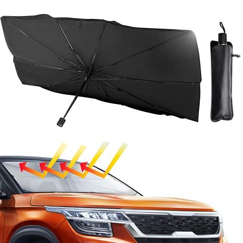 Ankuka Car Windshield Sun Shade Umbrella, Blocks UV Rays Reflecting Foldable Car Front Window Umbrella Block Heat and Sun for car Truck SUV Keeps Vehicle Cool