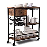 Houssem 3-Tier Bar Serving Cart for Home, Mobile Kitchen Wine Cart on Wheels, Industrial Vintage Style Wood Metal Serving Trolley, Drawer Storage, Wine Rack, Glass Holder