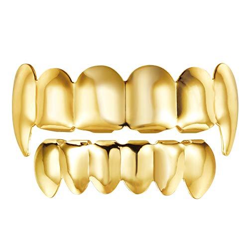 NUOBESTY Gold Hip Hop Teeth Grills für den Mund Oben unten