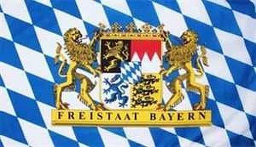 Fanshop Lünen Fahne - Flagge - Hißfahne - Bayern - Freistaat mit Löwen - XXL - Staatswappen - 150x250 cm - Hissfahne - Wappen - Bayern Bavaria -