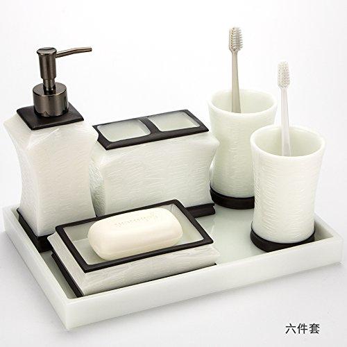 HJKY bathroom accessories set Kit 5 pièces Creative Baignoire Salle de bains de vanité résine Continental Cup kit kit de rinçage dans l'eau de toilette, 6 pièces ensemble