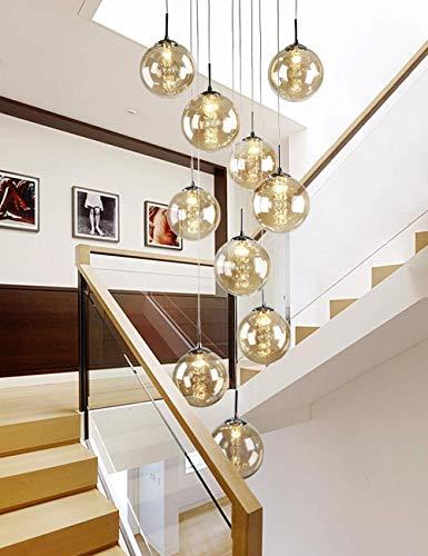 kzytamz 40x200cm Duplex Hohl Wohnzimmer Loft Kronleuchter Beleuchtung Modern Creative Hotel Villa Stairwell Hohe Decke Pendelleuchte Treppe Lange Kronleuchter Glaskugel 10 Lichter (Farbe: Cognac)