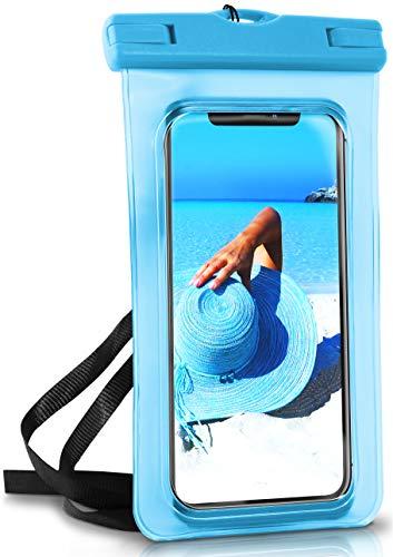 OneFlow® wasserdichte Handy-Hülle für alle Apple iPhone | Touch- & Kamera-Fenster + Armband und Schlaufe zum Umhängen, Blau (Aqua-Blue)