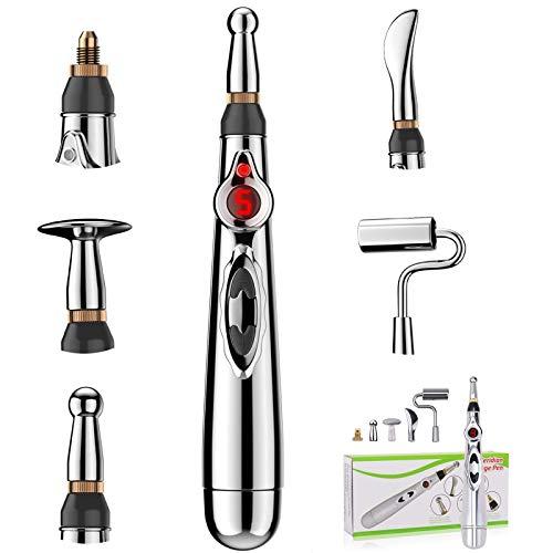 Akupunktur Stift, 5 Kopf Handmassagegerät Akupunktur Meridian Energy Pen Massagegerät für Schmerzlinderung Körperpflege
