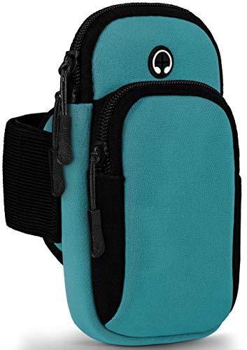ONEFLOW Premium Sportarmband Handy Armband zum Joggen kompatibel mit iPhone 6s / iPhone 6 | Lauftasche Smartphone Armtasche weich, 2 Fächer - Sport Handyhalterung Arm, Blau
